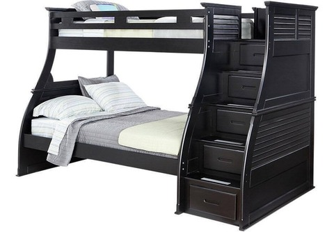 Bunk Beds (Black) Toys/Clothes Storage and Serta Mattresses
