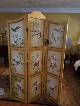 Beautiful hand-painted trifold room divider.  New with tags.